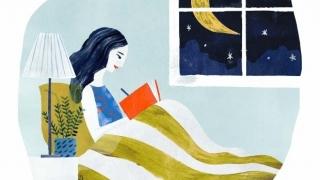 Ilustración de mujer escribiendo en su diario de gratitud.