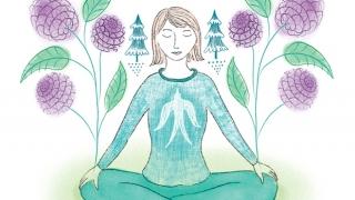 Ilustración espiritual de mujer meditando